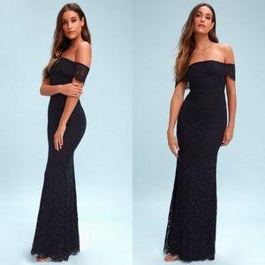 Lulus Off shoulder navy Lace Bridesmaid dress gown